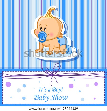 Announcement card with baby boy, vector background - stock vector