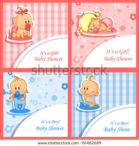 Announcement cards with babies, vector background - stock vector