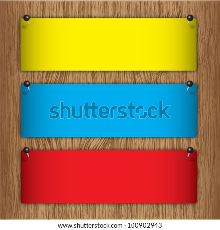 Announcement label on wood board with pin. - stock vector