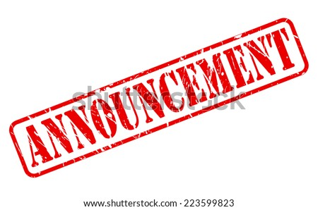 Announcement red stamp text on white - stock vector