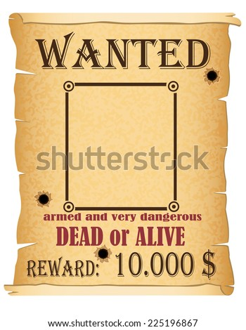 announcement wanted criminal poster vector illustration isolated on white background - stock vector