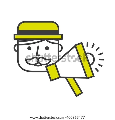 announcing with megaphone design  - stock vector