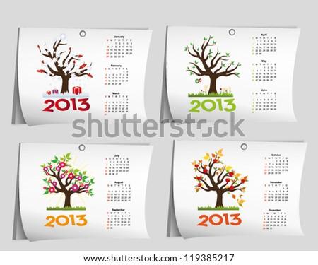 annual calendar for 2013 - stock vector