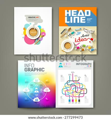 Annual report cover desk artist idea concepts with paintbrush, pencil, coffee cup, flat design ,info-graphic template background, vector illustration  - stock vector