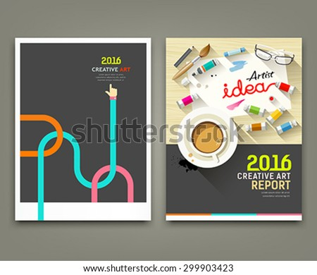Annual report 2016 cover desk artist idea concepts with paintbrush, pencil, coffee cup, flat design background, vector illustration - stock vector