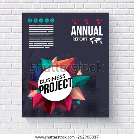 Annual Report design template for Mining, Geology or Gemology themed businesses with multicolored crystal points around a circular frame and editabe text on a black background, vector illustration - stock vector