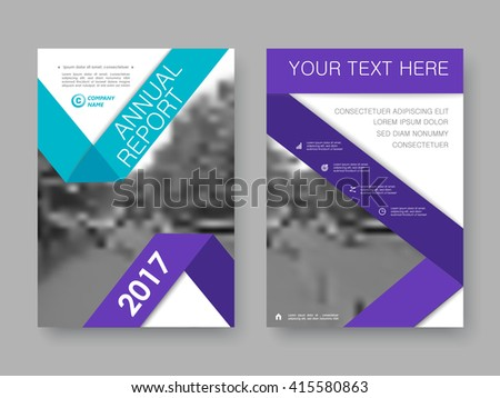 Annual report, flyer, brochure. Front page and back page, book cover layout design.  Design layout template in A4 size . Turquoise and purple version . - stock vector
