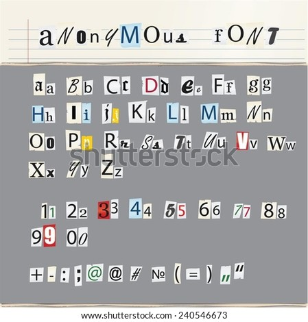 anonymous font vector set  - stock vector