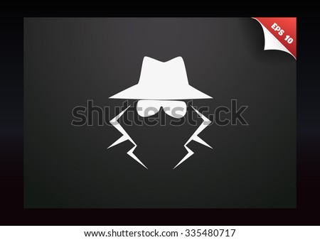 anonymous spy agent vector icon - stock vector
