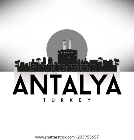 Antalya Turkey skyline silhouette design, vector illustration. - stock vector
