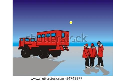 Antarctic travelers - stock vector