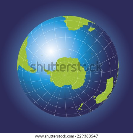 Antarctica and South Pole map. Antarctica, Australia, America, Africa. Earth globe. Elements of this image furnished by NASA. Planet earth as seen from space - stock vector
