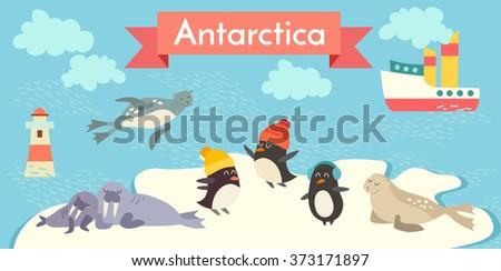 Antarctica cartoon animals vector illustration set. Penguin, walrus, seal, lighthouse, boat. - stock vector