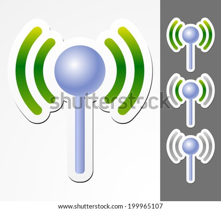 Antennae graphics with signal strength. Connectivity, wireless network, wifi concepts - stock vector