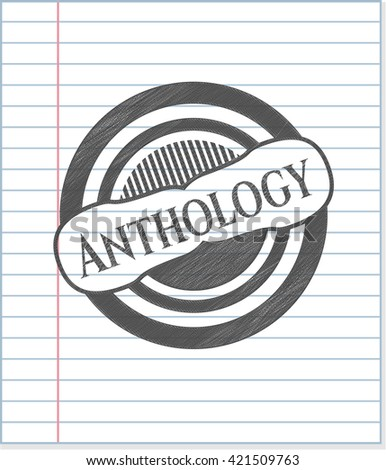 Anthology emblem drawn in pencil - stock vector