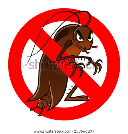 Anti pest sign with a funny cartoon cockroach. - stock vector
