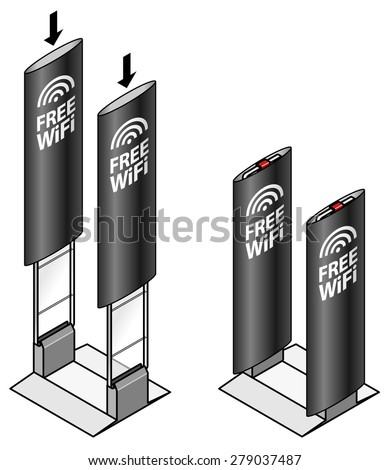 Anti-theft sensor gates commonly installed in shops/stores. Diagram shows installation of advertising banner sleeves. - stock vector