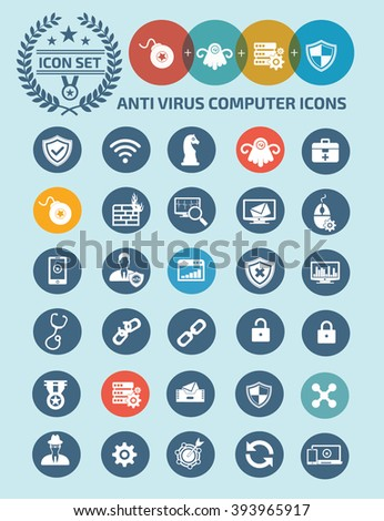 Anti virus,computer security icon set design,clean vector - stock vector