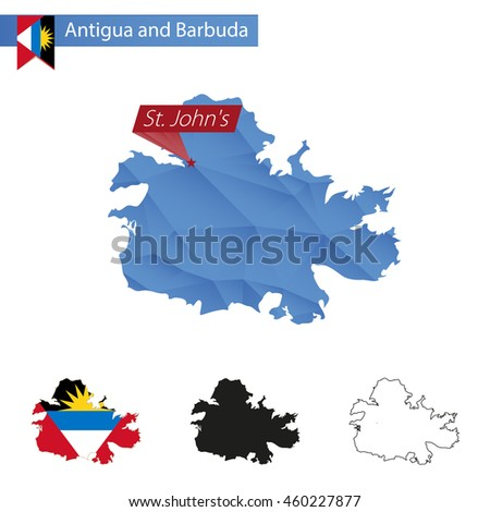 Antigua and Barbuda blue Low Poly map with capital St. John's, versions with flag, black and outline. Vector Illustration. - stock vector