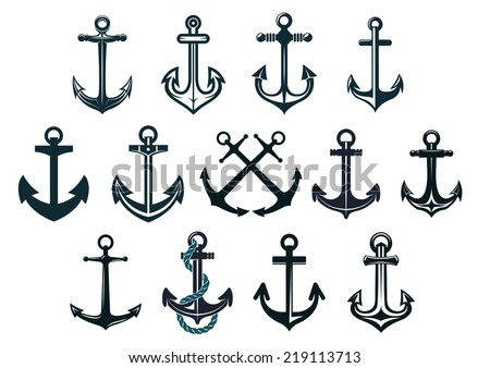 Antique and vintage marine anchors set isolated on white for marine and heraldry design - stock vector