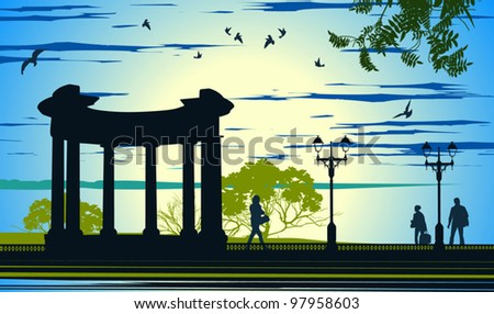 Antique arbor in the alley with people near the sea - stock vector