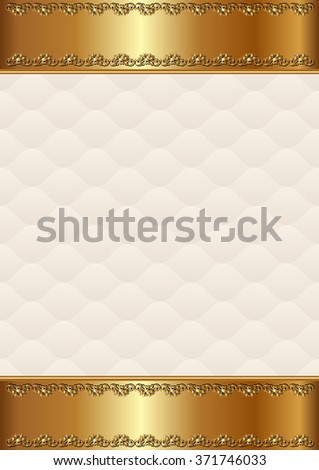 antique background with golden border - stock vector