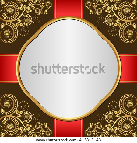 antique background with golden floral ornaments - stock vector