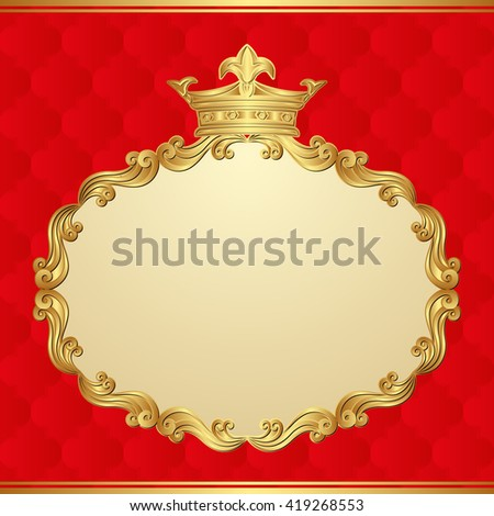 antique background with golden frame and crown - stock vector