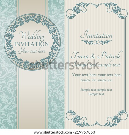 Antique baroque wedding invitation, ornate round frame, blue on beige background - stock vector