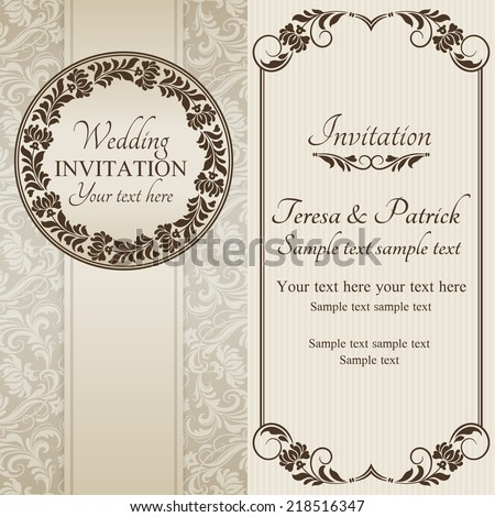 Antique baroque wedding invitation, ornate round frame, brown on beige background - stock vector