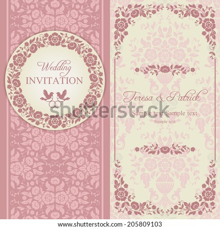 Antique baroque wedding invitation, ornate round wreath frame, couple of birds with ring, pink and beige - stock vector