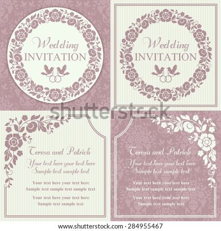Antique baroque wedding invitation set, ornate round wreath frame, couple of birds with ring, pink and beige - stock vector