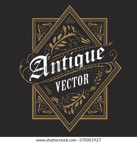 antique border western frame vintage label hand drawn typography retro vector illustration - stock vector