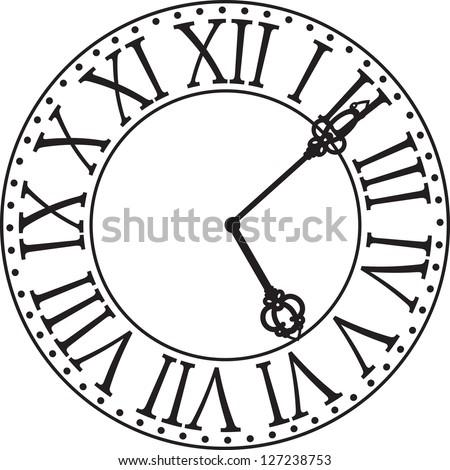 antique clock face - stock vector