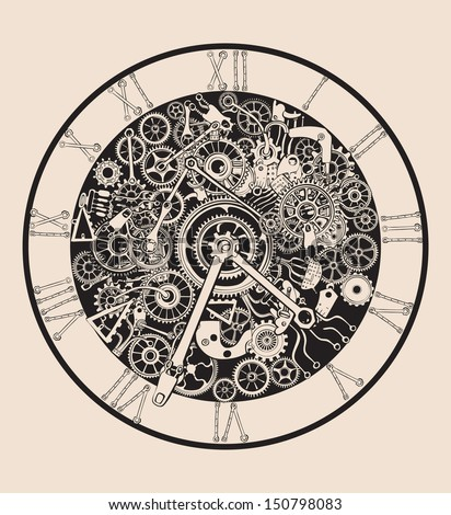 Antique Clock made of selectable ungroupable metal parts and cogs. - stock vector