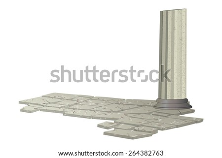 Antique columns and marble floors. Transparent background. Vector. EPS 10 Illustrator. - stock vector