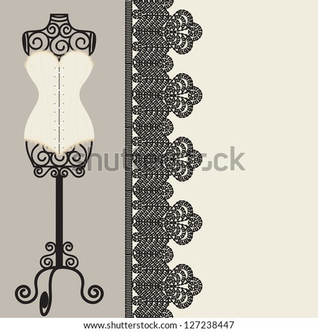 antique corset with lacing - stock vector