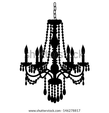 antique decorative chandelier silhouette isolated on white, full scalable vector graphic - stock vector