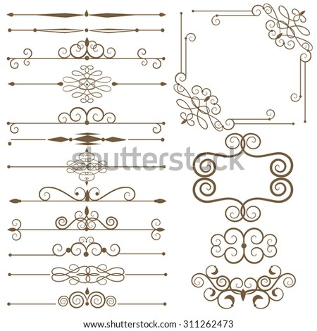 Antique decorative elements, and scroll elements, set page dividers. Vector illustration - stock vector