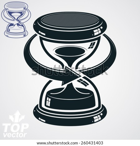Antique dimensional vector sand-glass with arrow around, additional version. Old-fashioned decorative 3d hourglass - time management business icon. Time is running out conceptual symbol. - stock vector