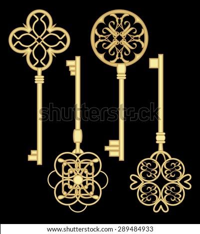 Antique door  key set.  Gold  gate key collection. Metallic art deco key. Keys with historic ornamental vintage patterns.  Antiquarian brass keys. Victorian nostalgic keys. Isolated artistic key. - stock vector