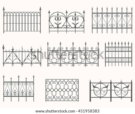 Antique fences - first set - stock vector