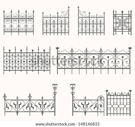 Antique fences - second set - stock vector