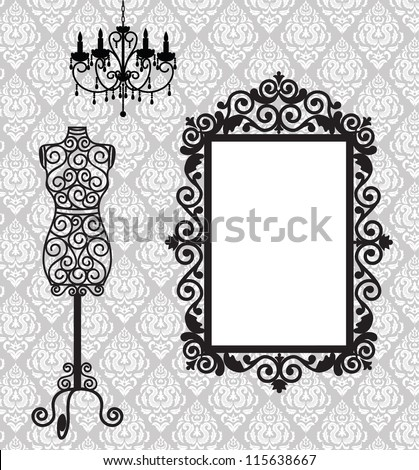 Antique frame, mannequin and chandelier - stock vector
