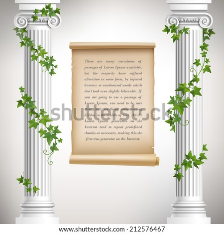 Antique greek columns with vine and vintage scroll poster vector illustration - stock vector