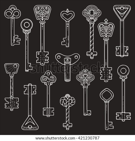 Antique keys, ancient symbols, vintage locks. Artistic collection of hand drawn design elements made with ink. For logo, banner, poster, card template. Isolated vector. - stock vector