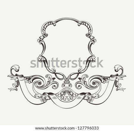 Antique Luxury High Ornate Frame And Banner - stock vector