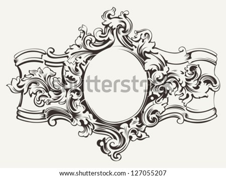 Antique Ornate Frame Engraving - stock vector