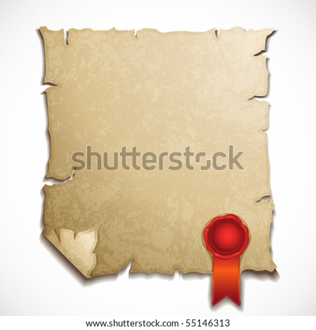 antique paper sheet with sealing wax stamp - stock vector