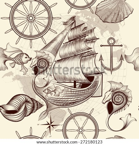 Antique pattern with ship, shells and map, tripping theme - stock vector
